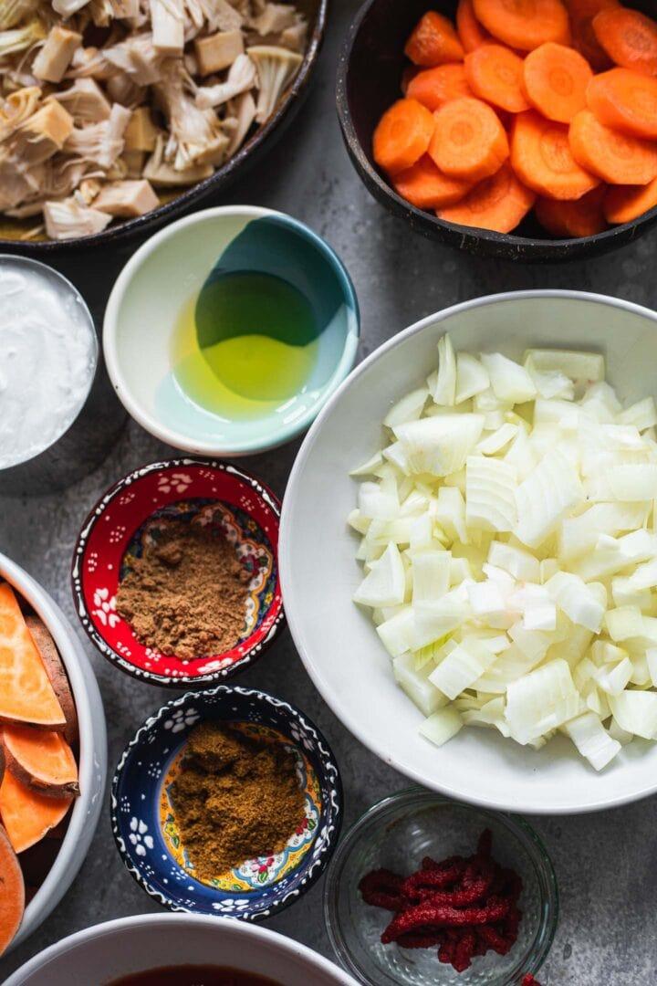 Ingredients for vegan coconut soup