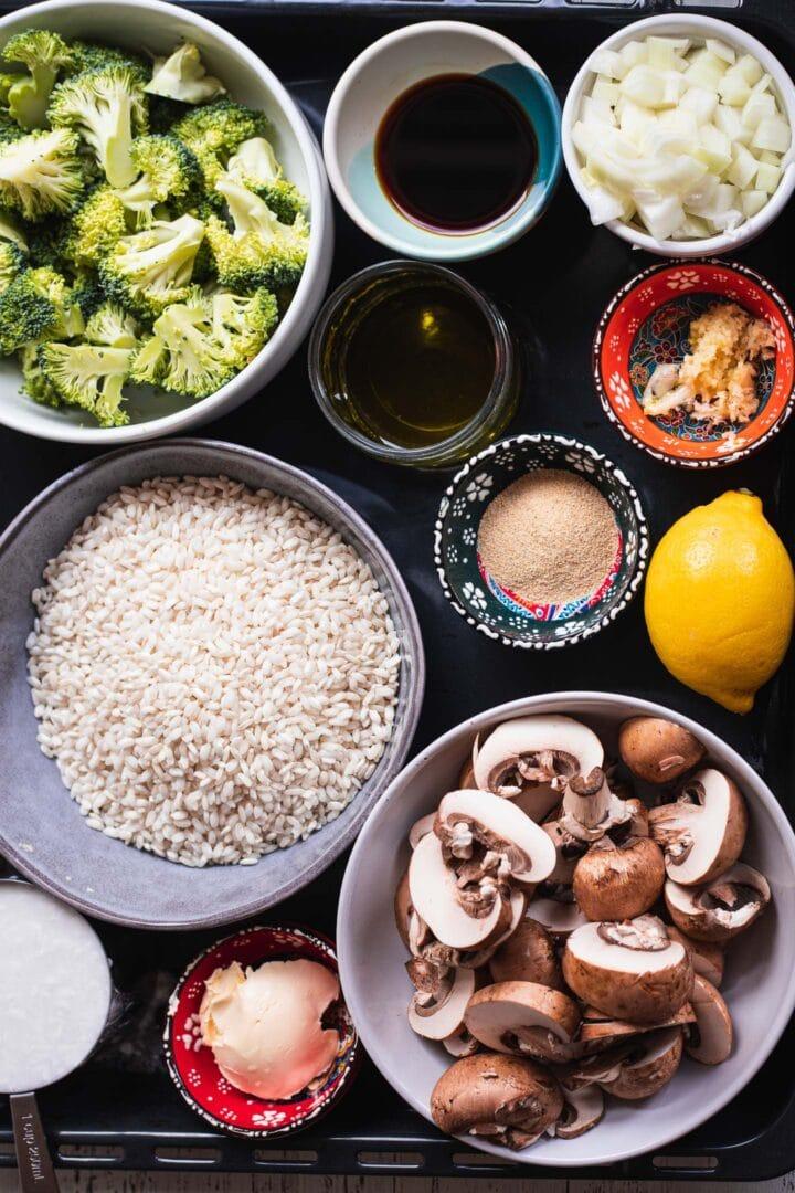 Ingredients for vegan mushroom risotto