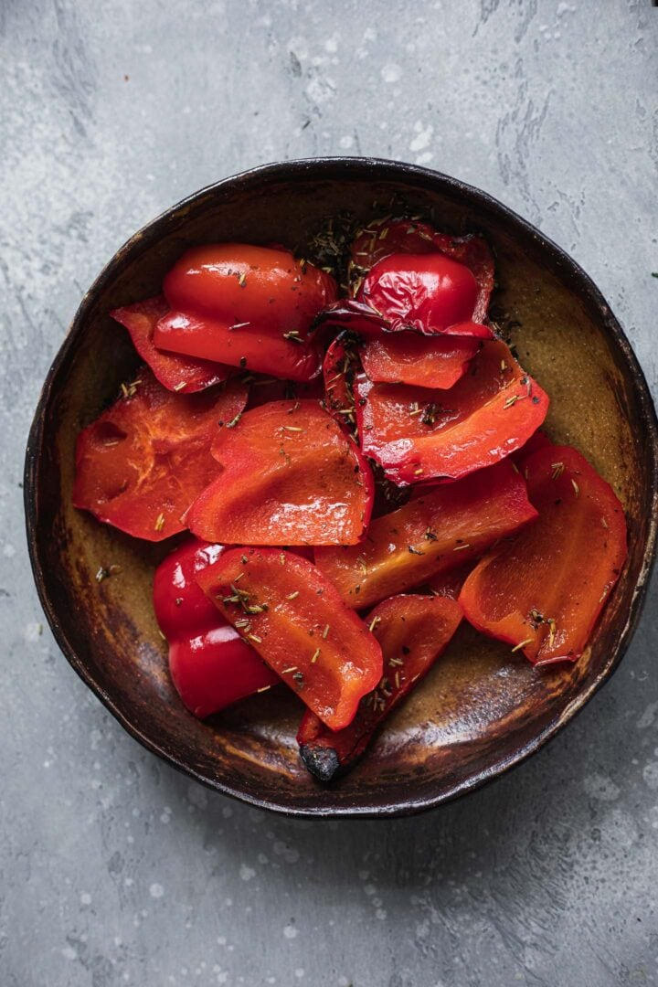 Roasted red pepper in a bowl