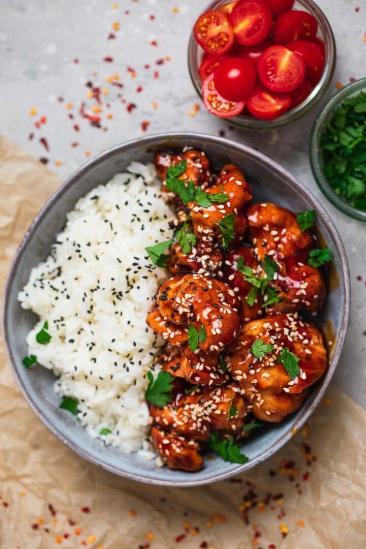 Sticky sesame cauliflower vegan recipe