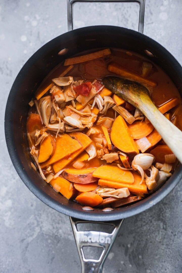 Sweet potato and jackfruit soup in a saucepan
