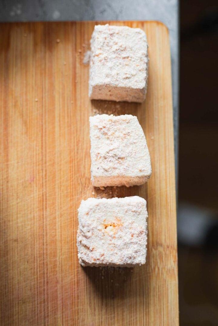 Tofu coated in breadcrumbs