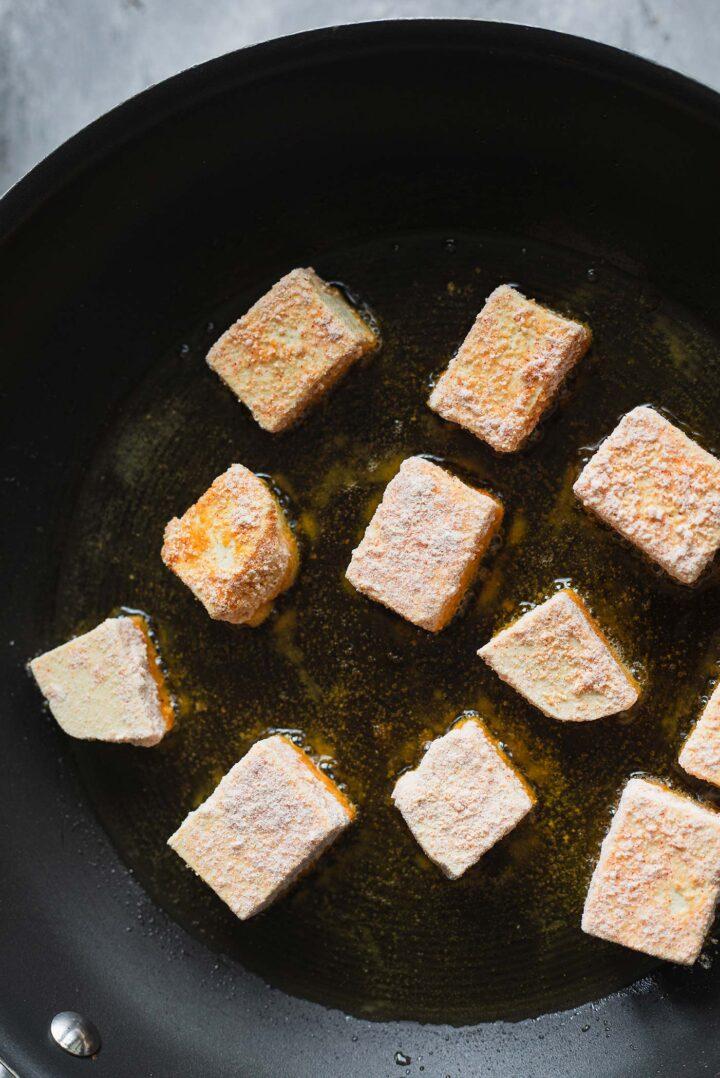 Tofu in a frying pan