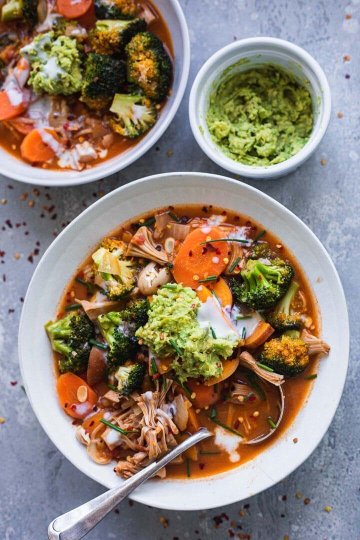 Vegan jackfruit and sweet potato soup