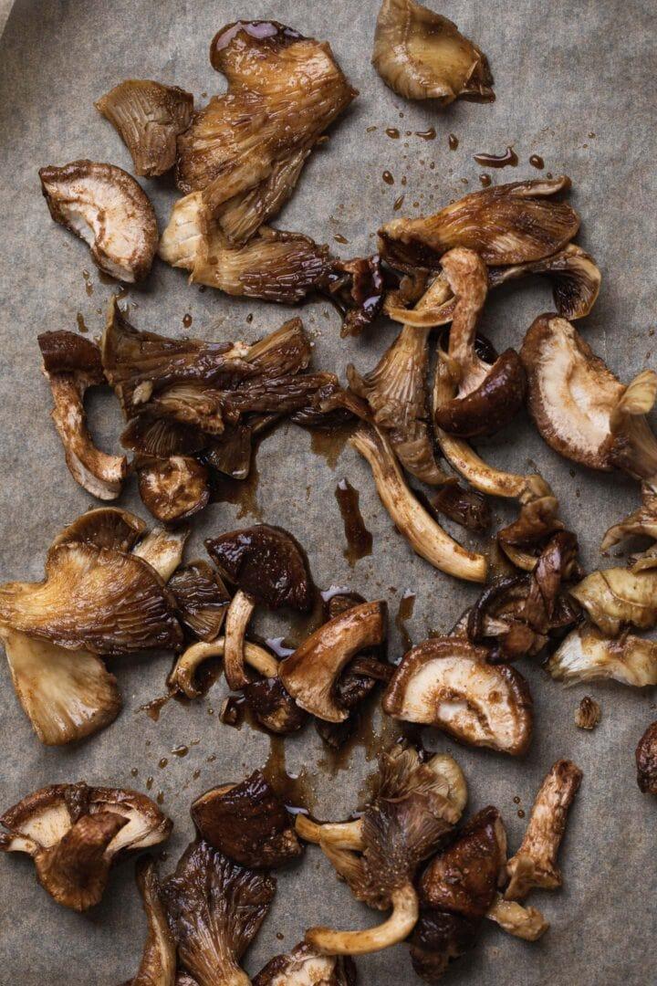Vegan mushroom 'bacon' on a tray