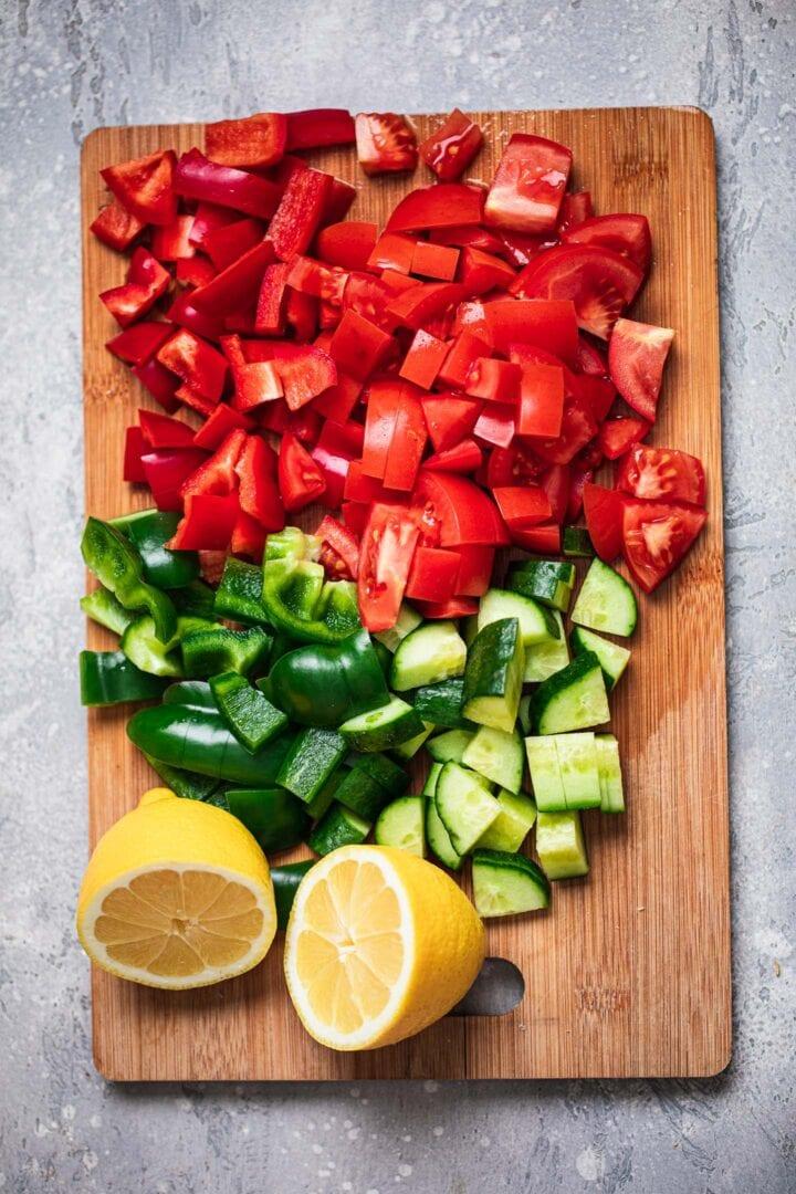 Vegetables for vegan macaroni salad
