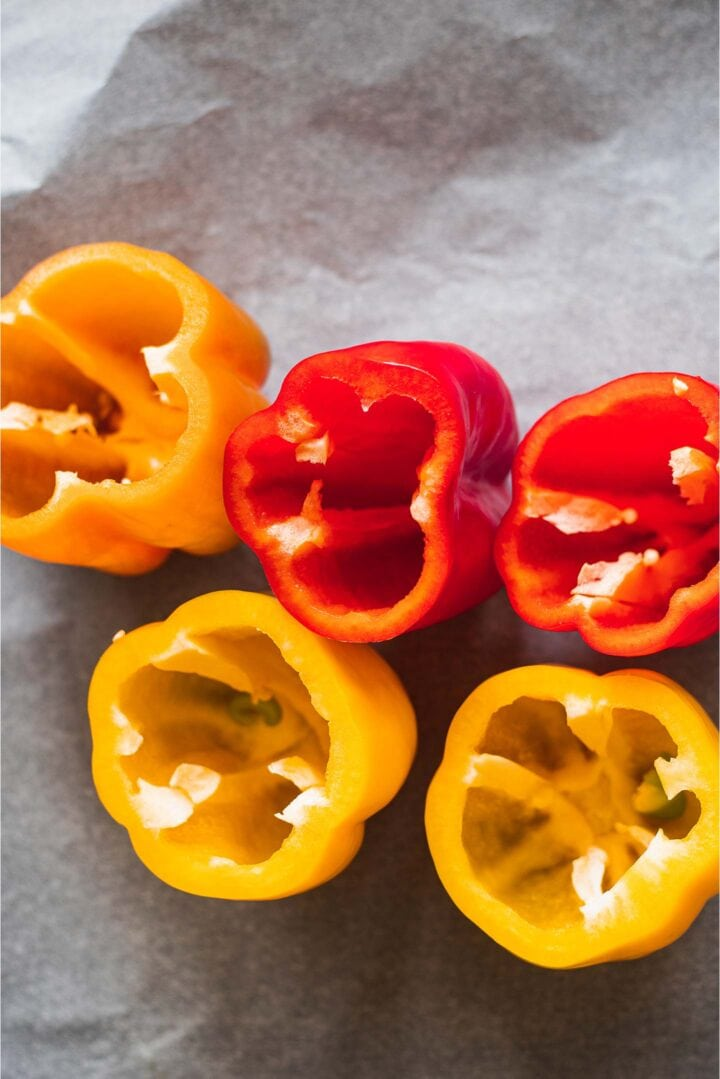 Bell peppers on a baking tray