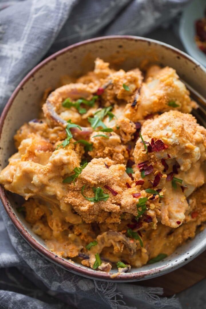 Bowl of cheesy vegan cauliflower