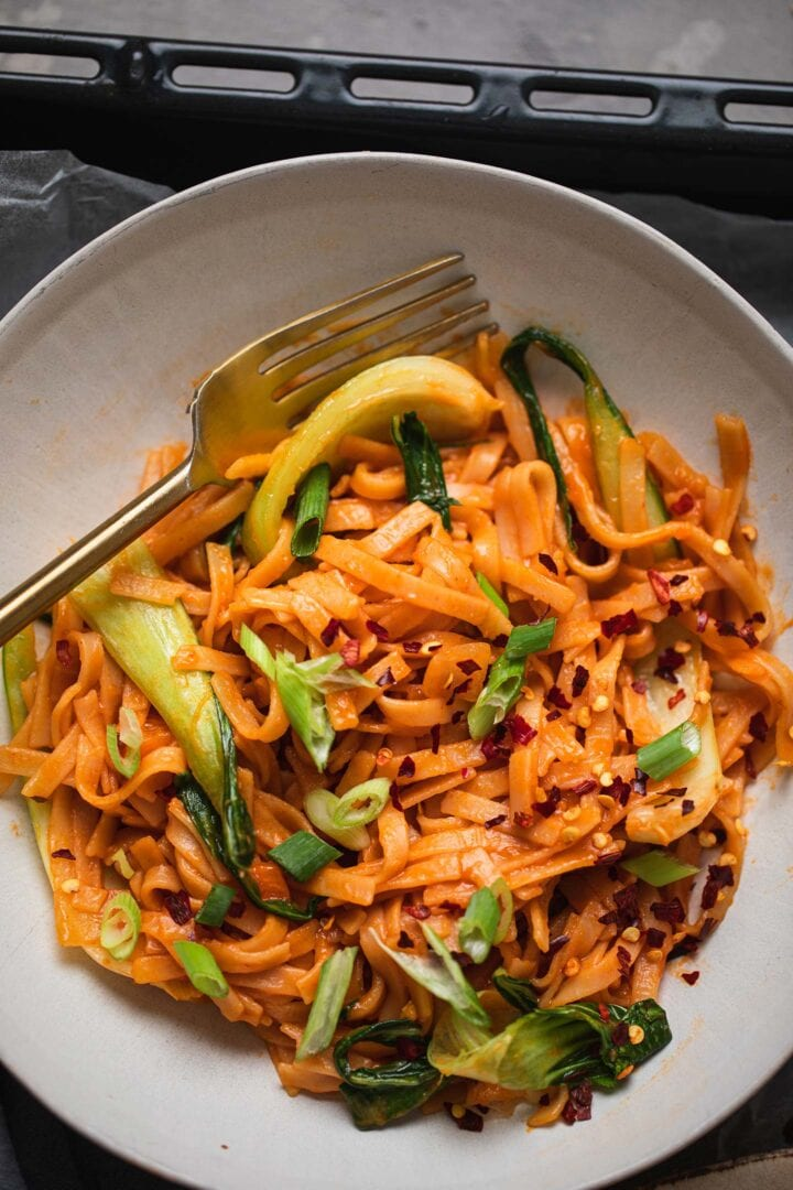 Bowl of spicy vegan noodles with Pak Choi