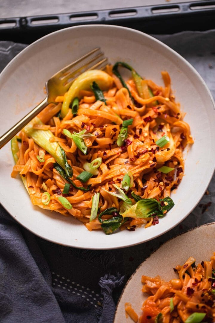 Bowl of spicy vegetarian noodles with Pak Choi