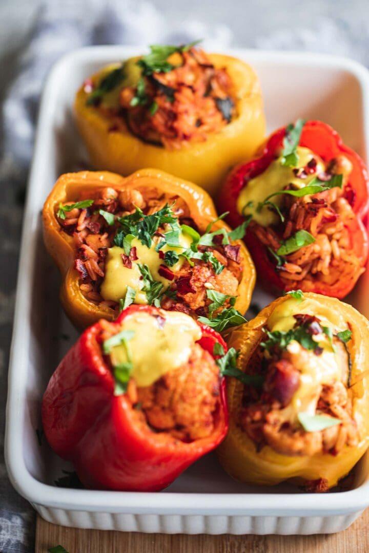 Chickpea and cauliflower vegan stuffed peppers