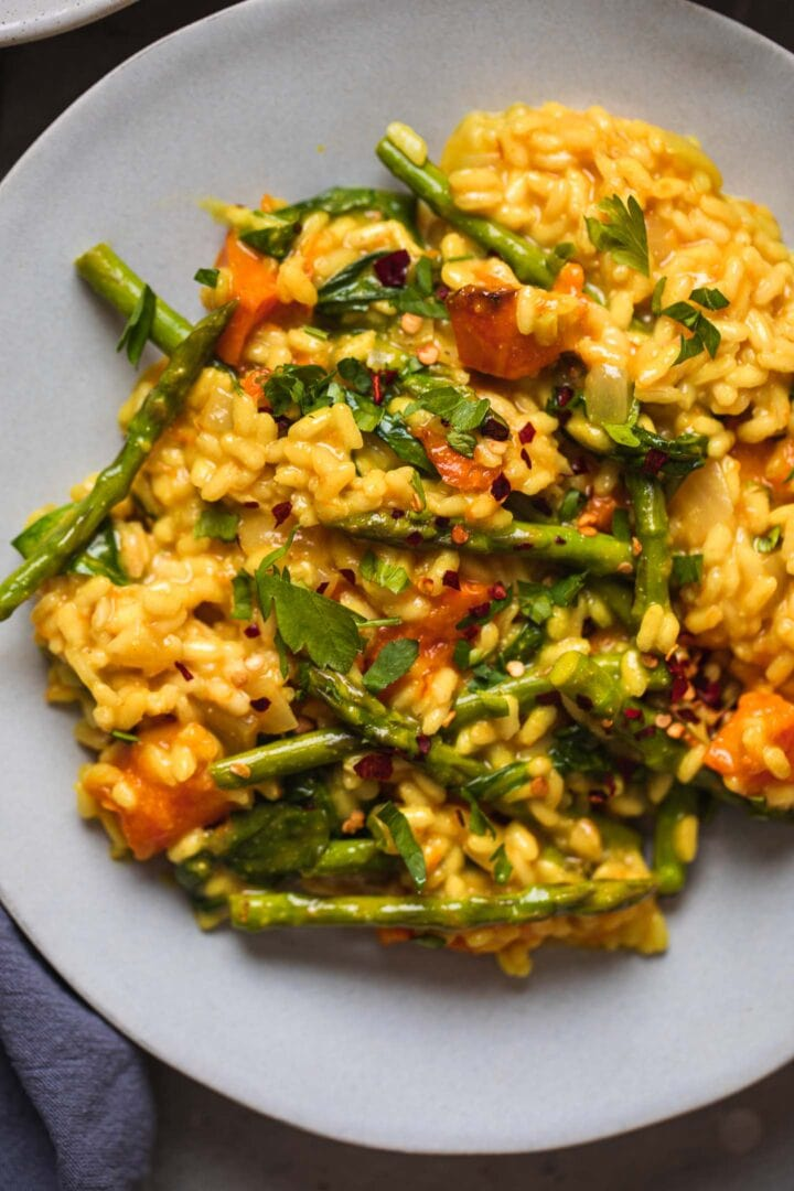 Closeup of risotto with asparagus