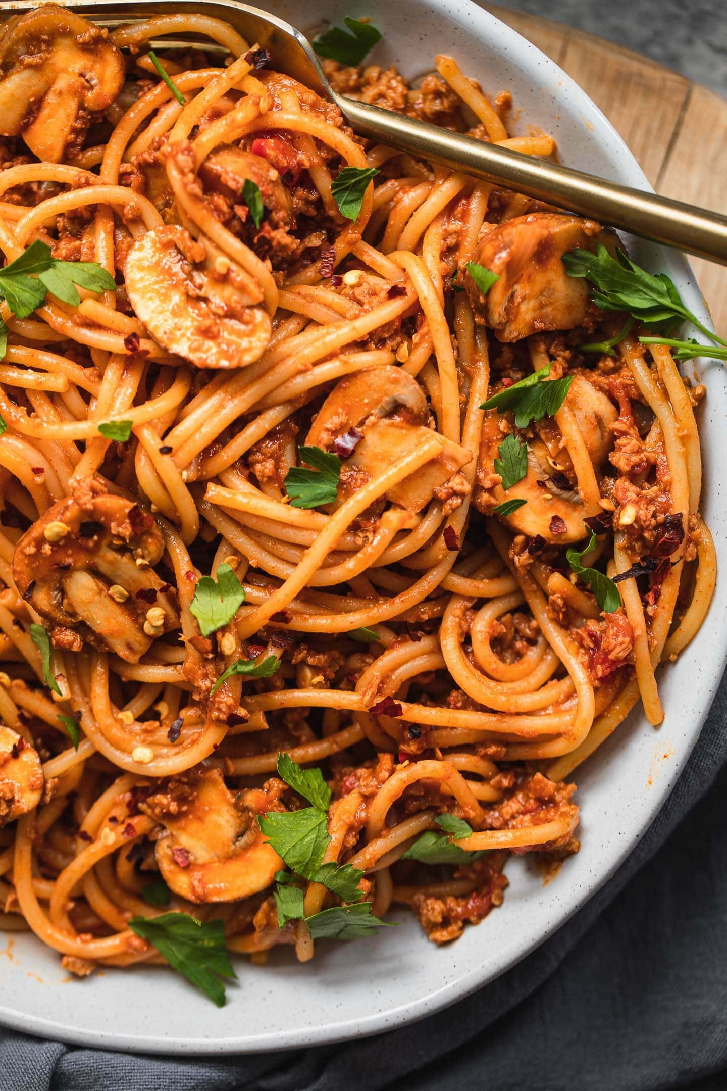 Closeup of spaghetti with a vegan sauce in a bowl