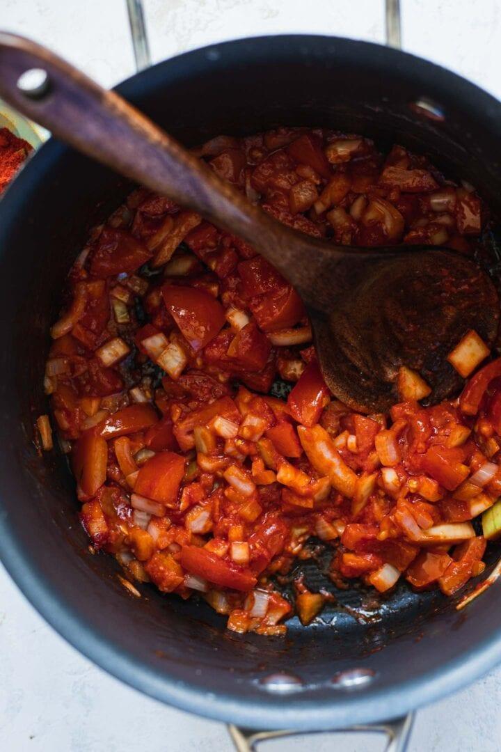 Fresh tomatoes in a saucepan