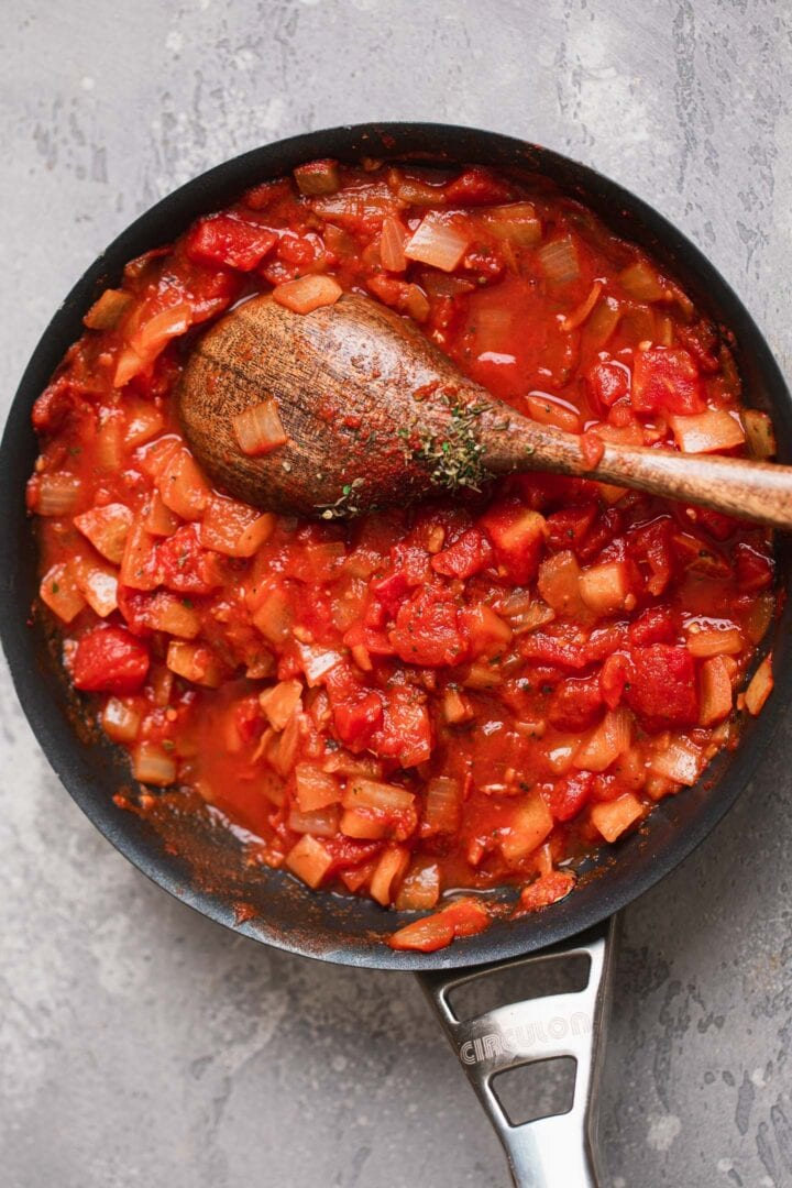 Homemade tomato sauce in a frying pan