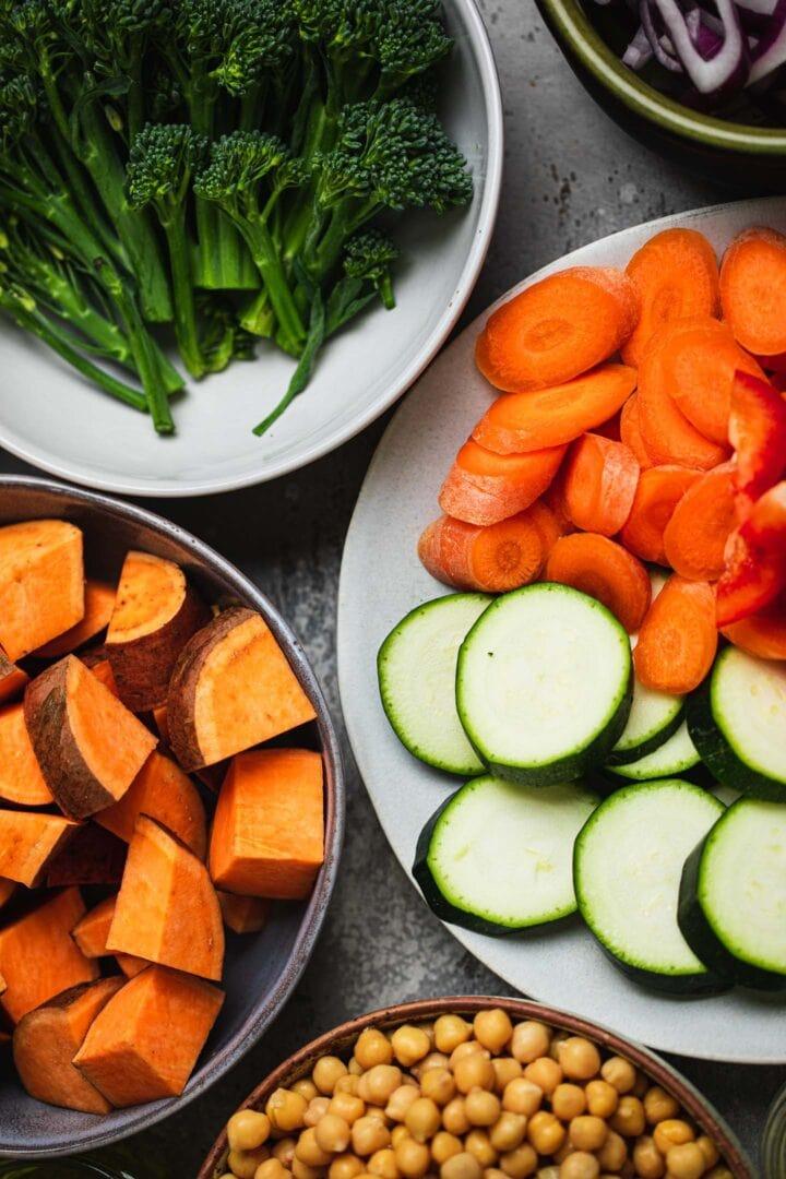 Ingredients for a vegan sheet pan meal