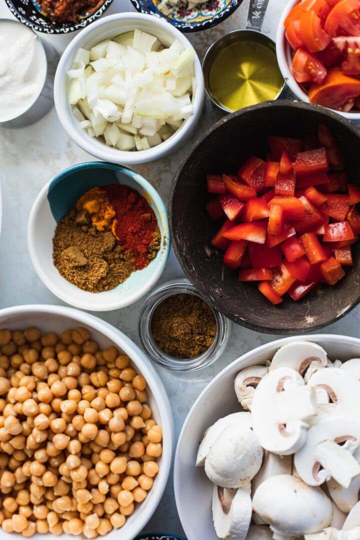 Ingredients for chickpea Tikka Masala