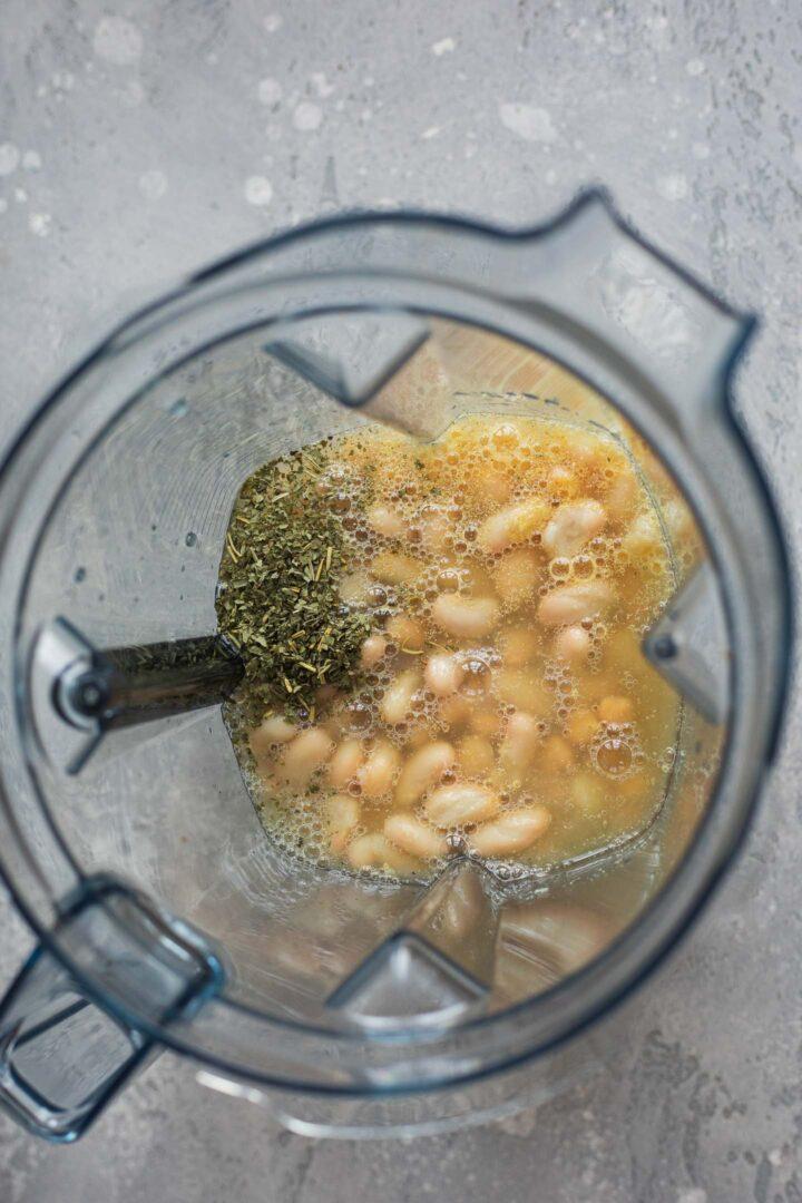 Ingredients for seitan in a blender