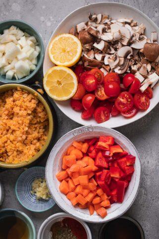 Ingredients for vegan Moussaka