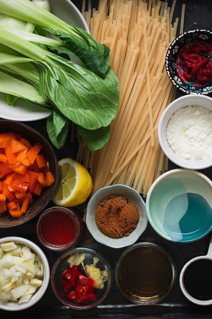 Ingredients for vegan chili garlic noodles