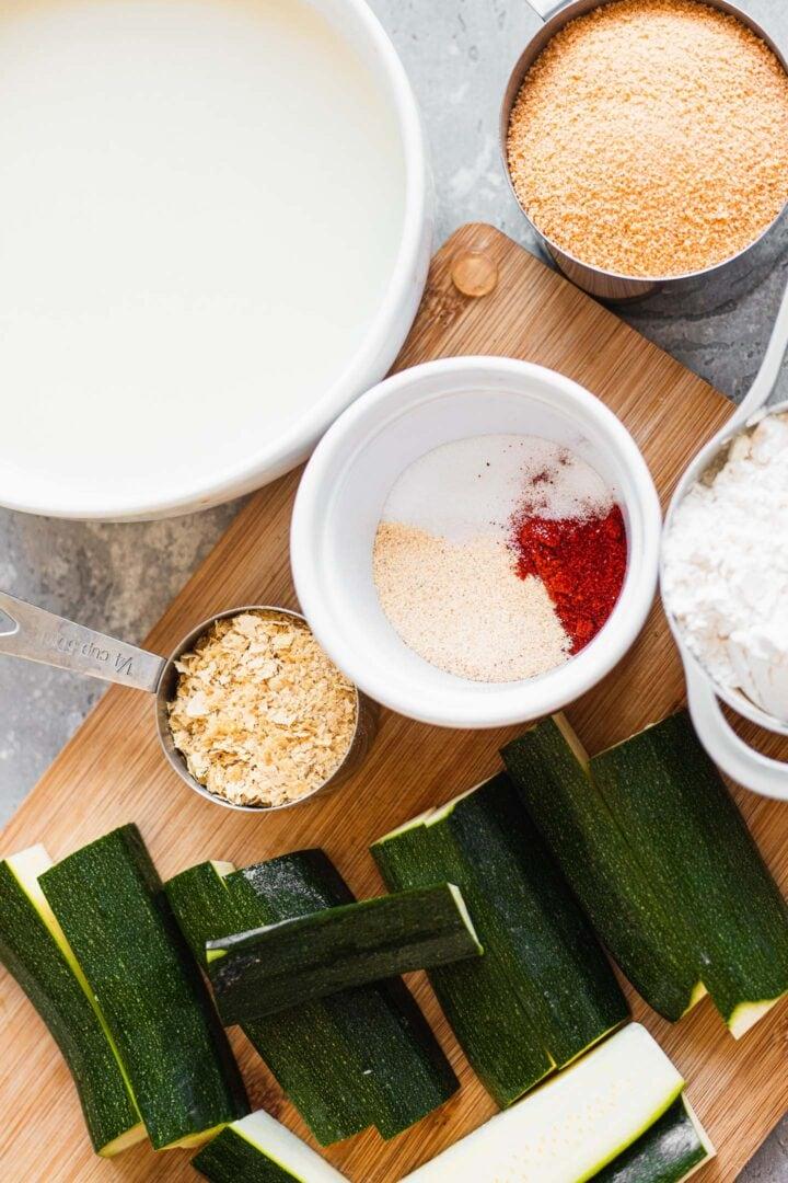 Ingredients for vegan zucchini fries