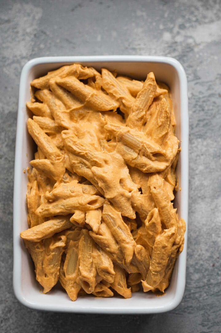 Pasta in a cheesy sauce in a baking dish