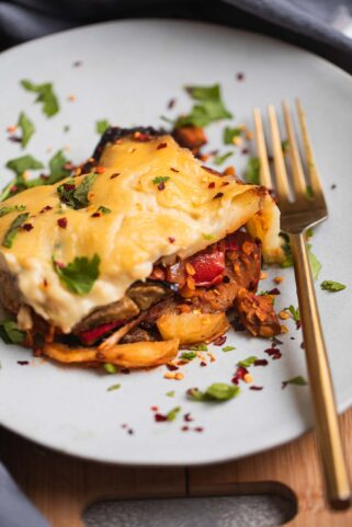 Plate with lentil Moussaka