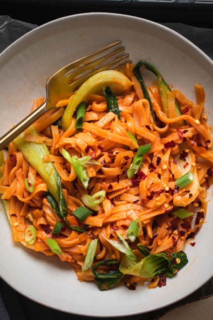 Spicy noodles with Pak Choi in a bowl