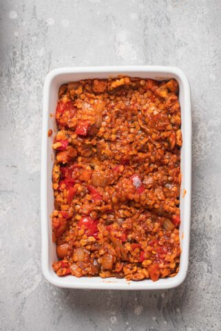 Tomato sauce lentils in a baking dish