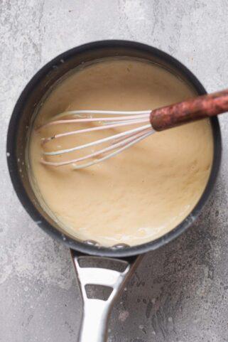 Vegan Bechamel sauce in a pan