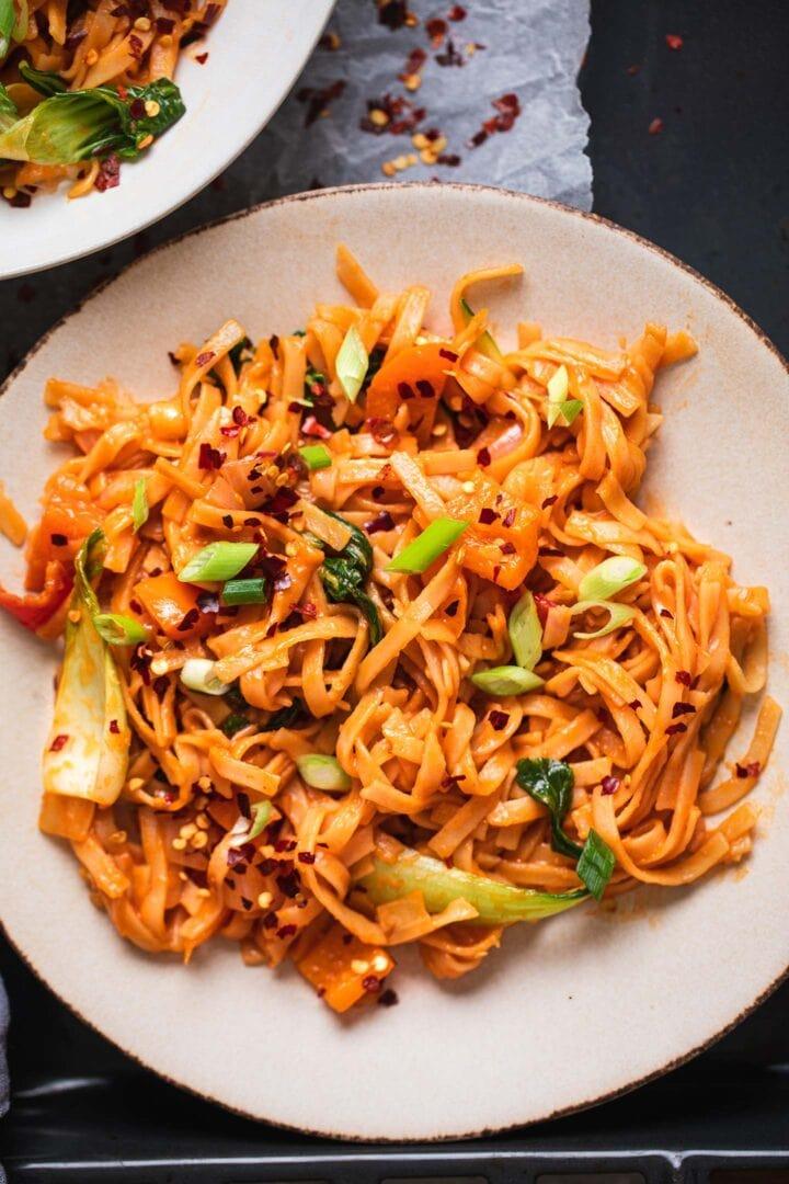Vegan Sriracha noodles in a bowl