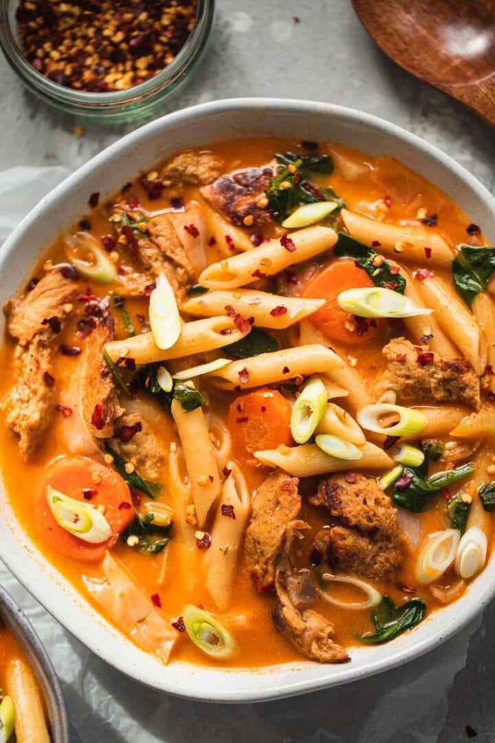 Vegan chicken noodle soup recipe