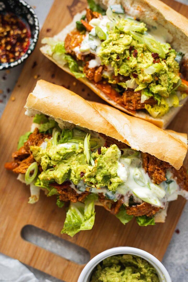 Vegan chicken sandwiches with avocado