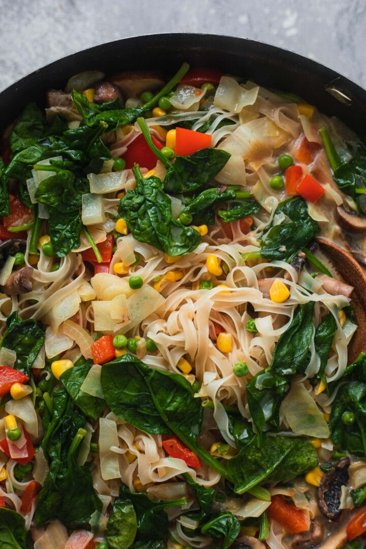 Vegan noodle soup in a frying pan