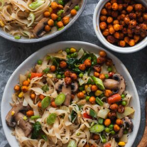 Vegan noodle soup with crispy chickpeas