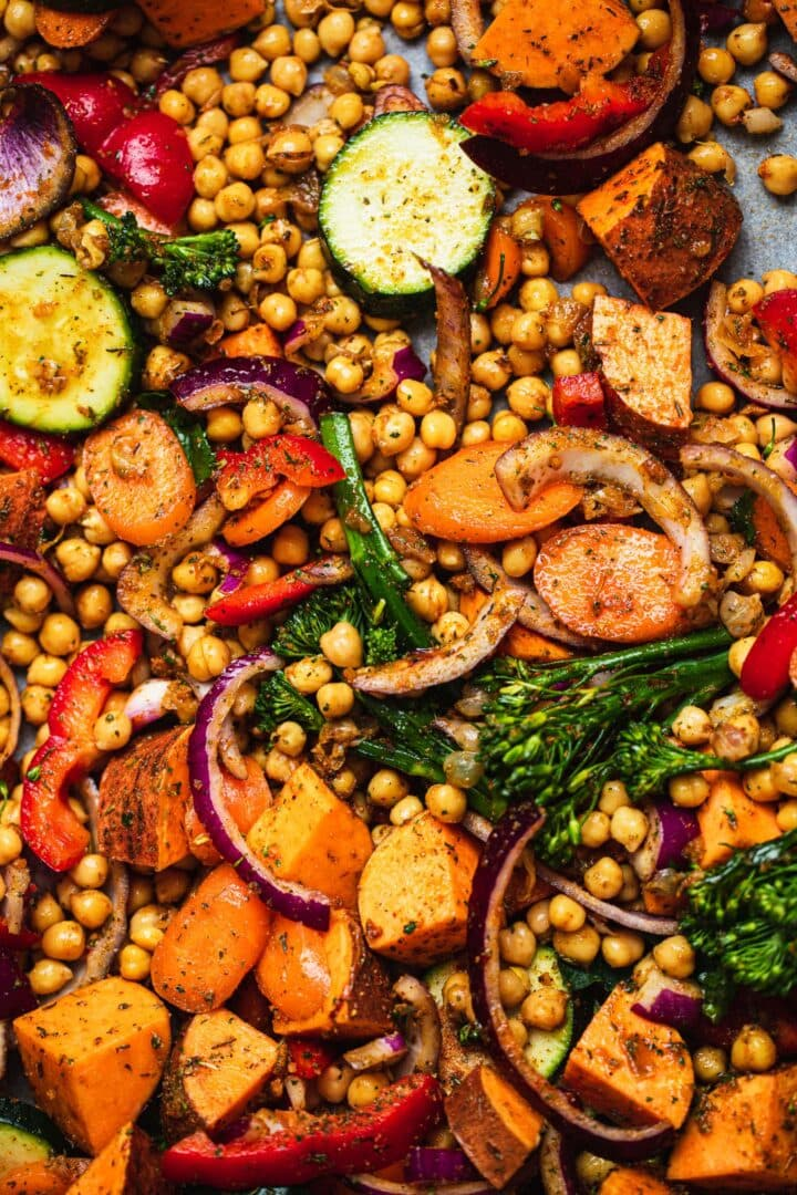Vegetables and chickpeas on a baking tray