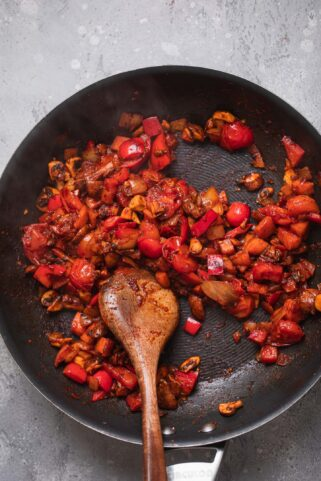 Vegetables in a tomato sauce in a frying pan