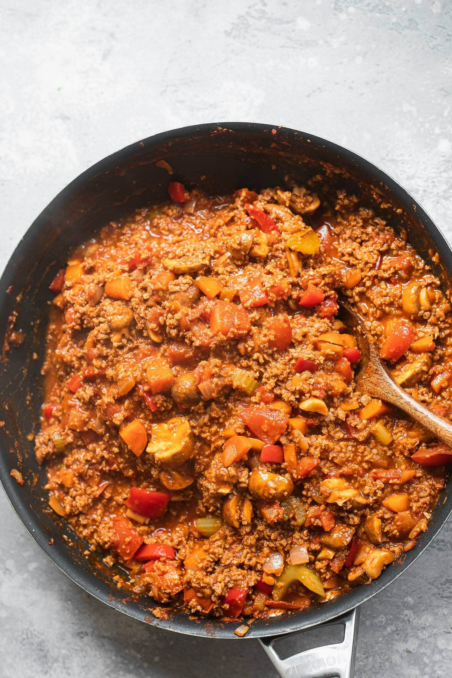 Vegetarian Bolognese sauce in a large pan