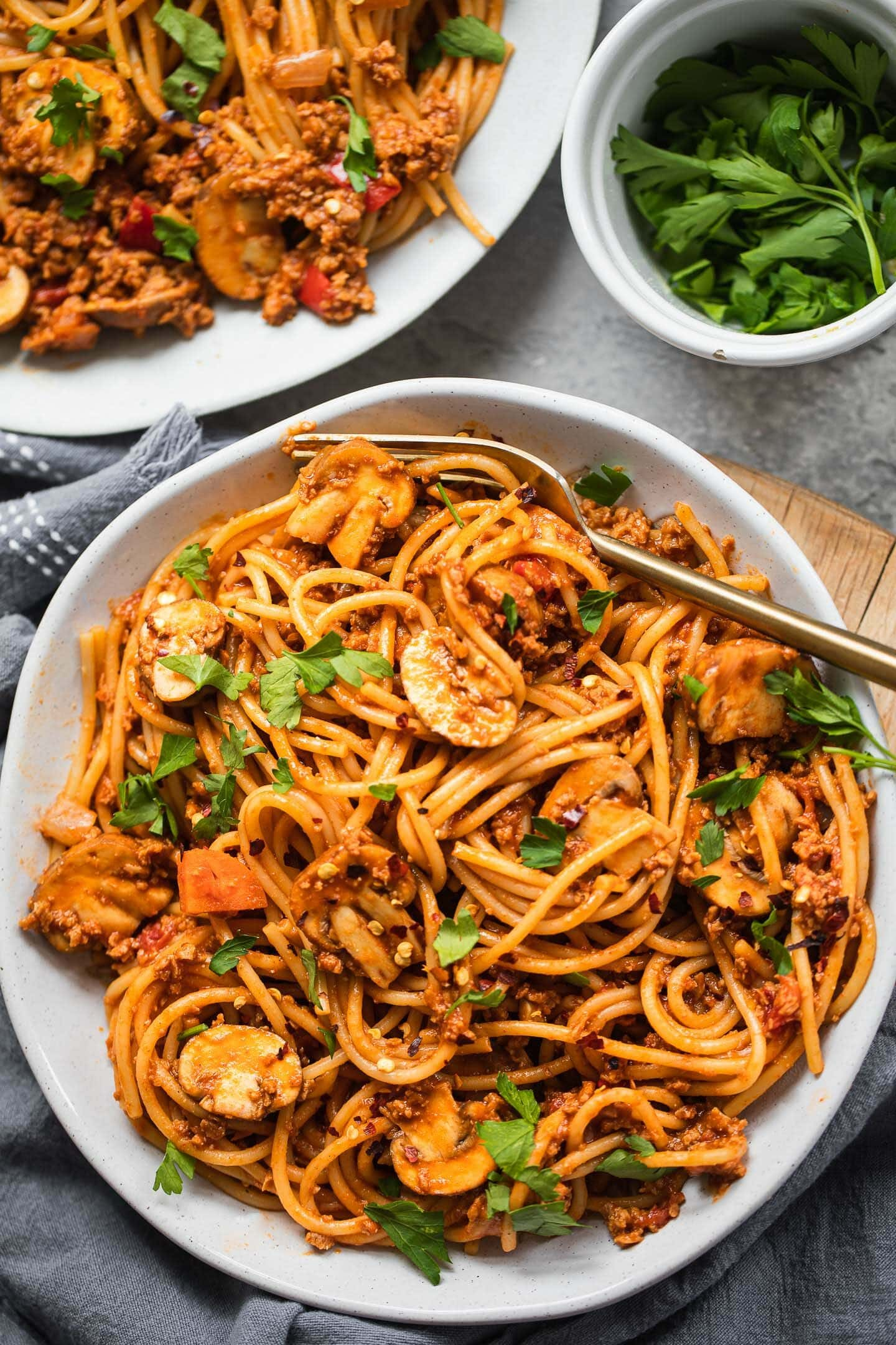 Vegetarian Bolognese with spaghetti in a bowl