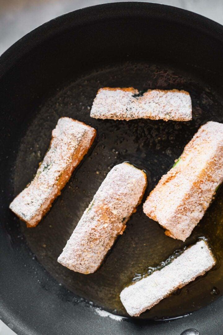 Zucchini fries in a pan