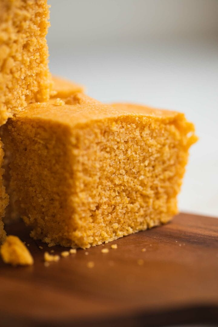 Closeup of vegan bread made from polenta