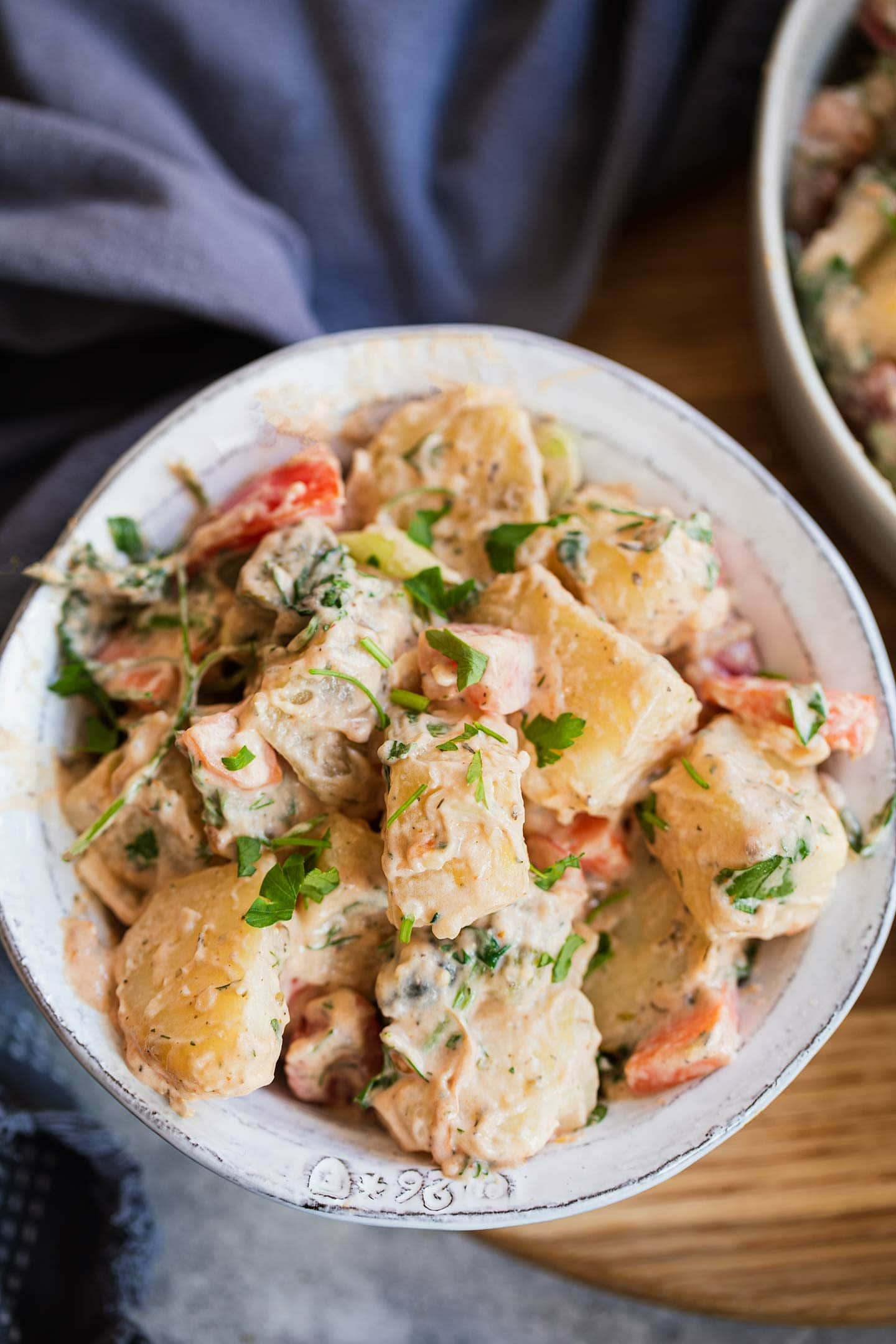 Dairy-free potato salad in a bowl