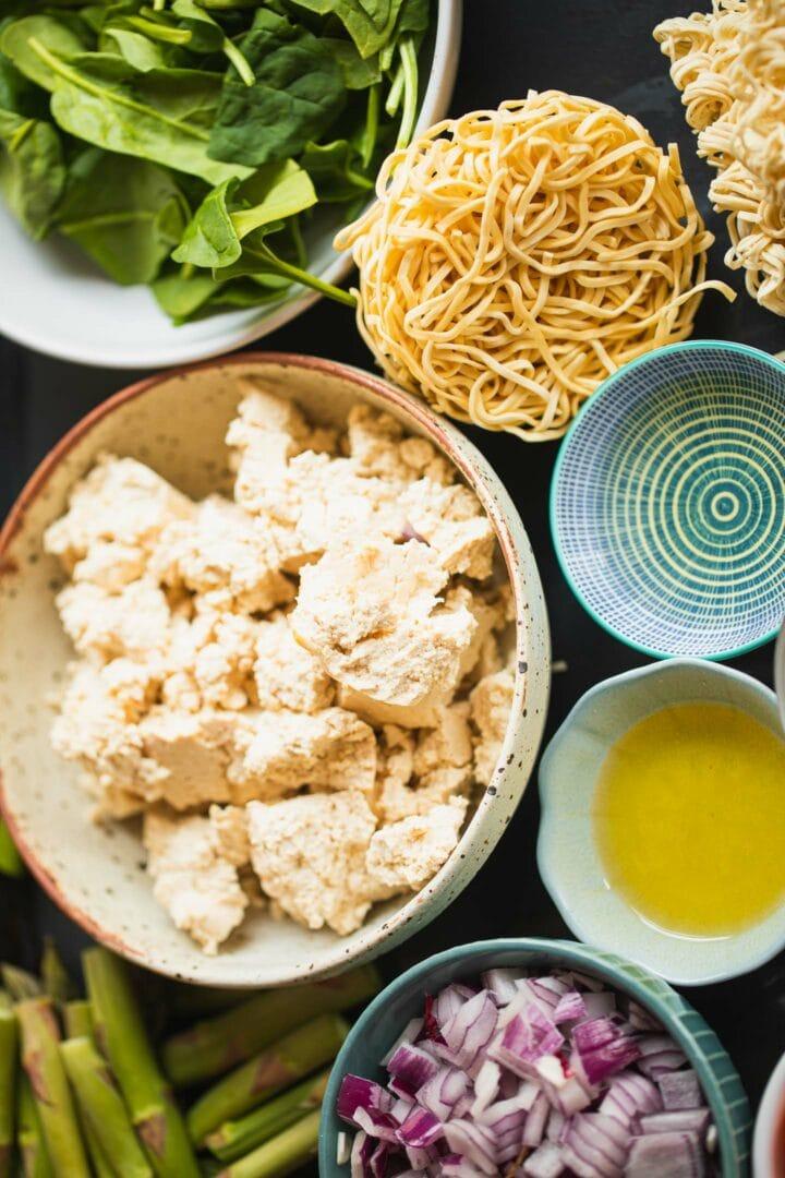 Ingredients for tofu noodles