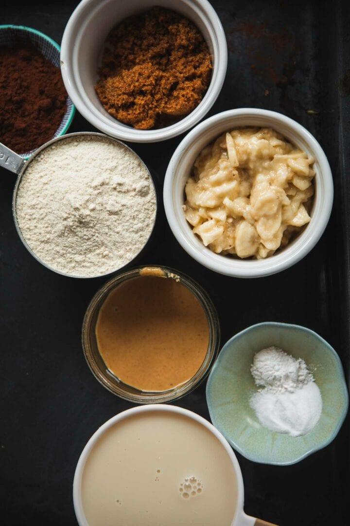 Ingredients for vegan chocolate pancakes
