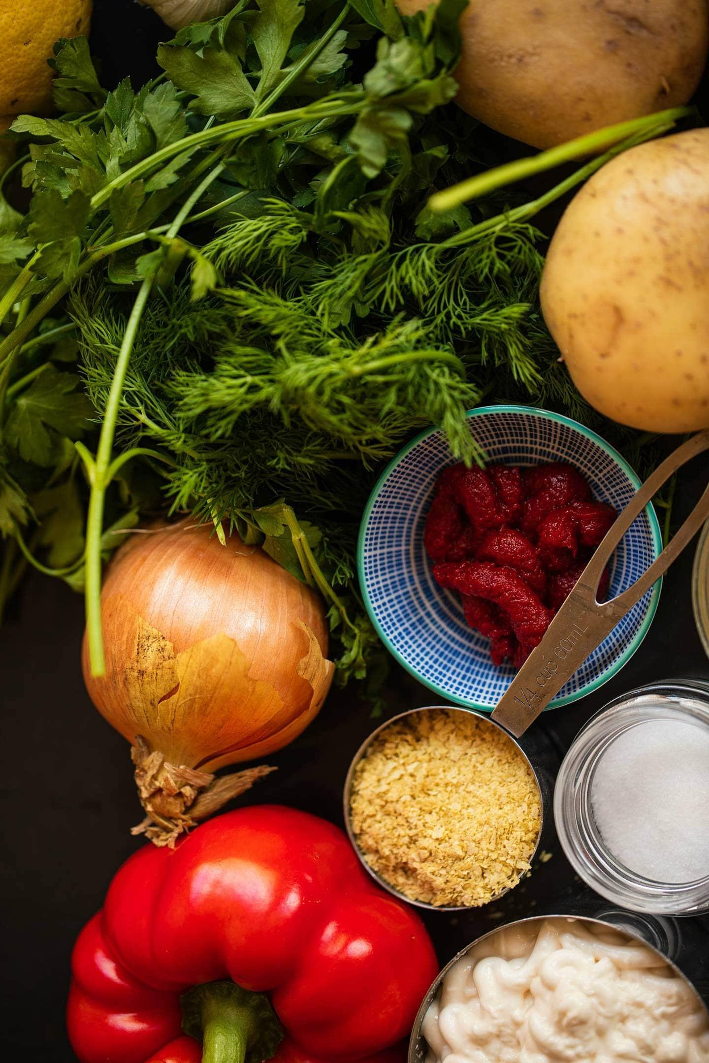 Ingredients for vegan potato salad