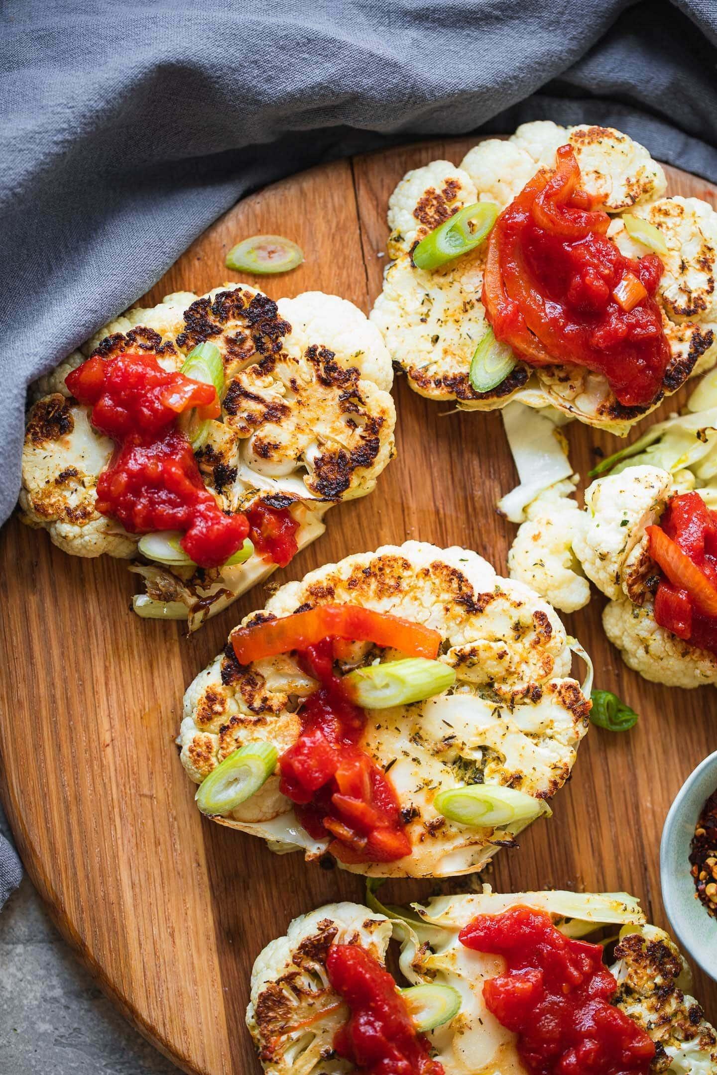Vegan Cauliflower Steak With Tomato Sauce-12