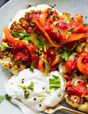 Vegan Cauliflower Steak With Tomato Sauce-17