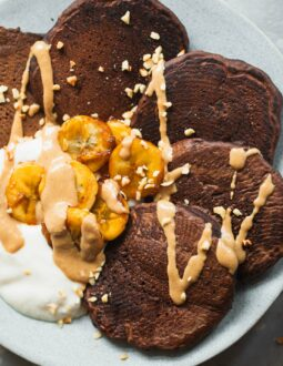 Vegan chocolate pancakes with caramelised banana-7