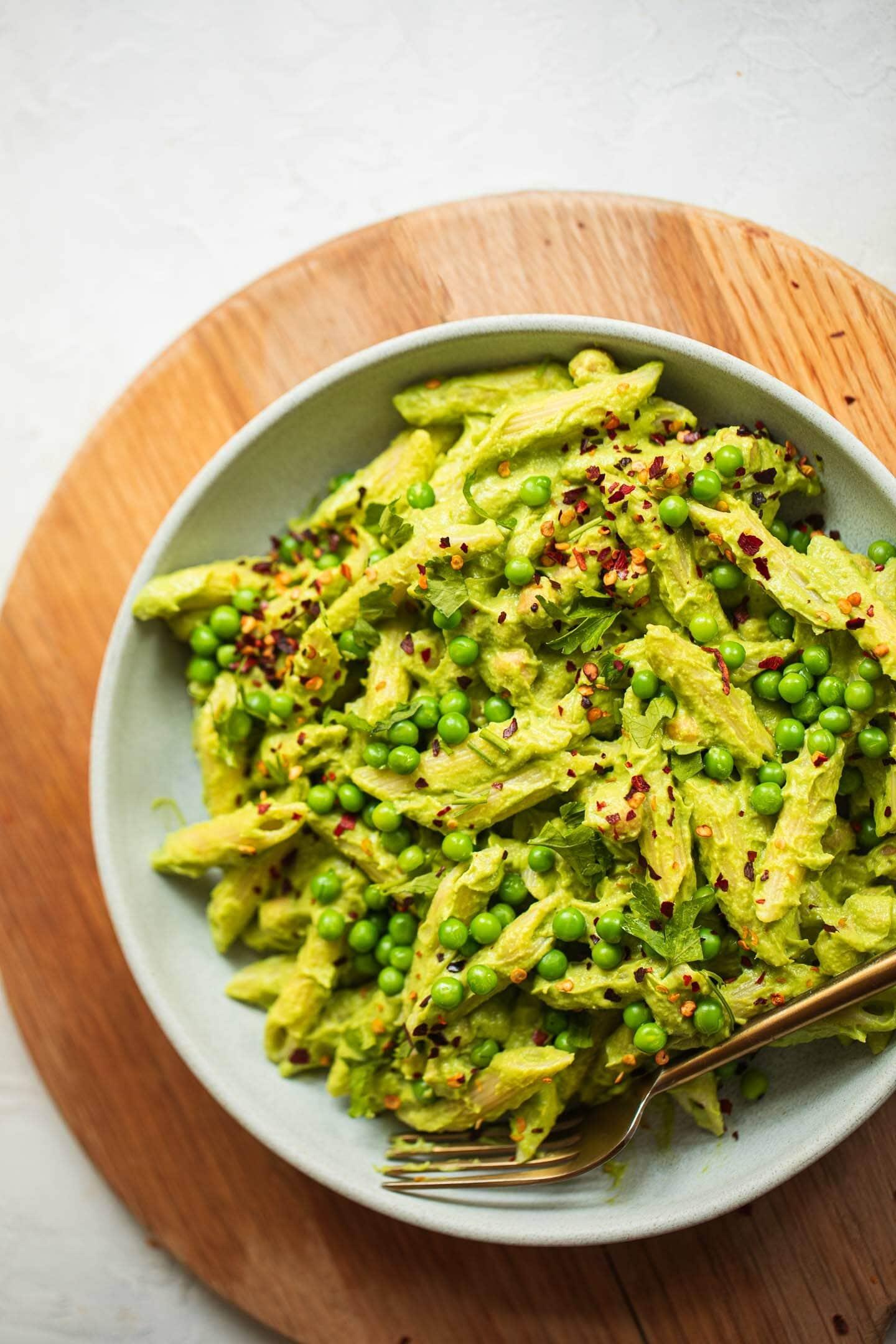 Vegan pea and avocado pesto pasta