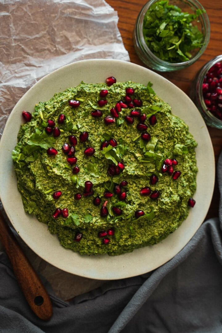 Plate of pkhali with pomegranate seeds